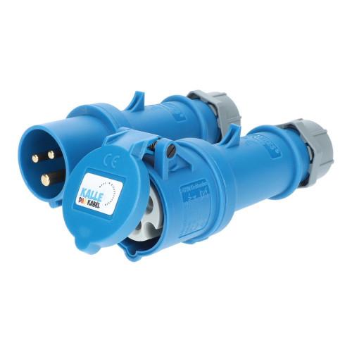 CEE Stecker und Kupplung blau 230V 16A IP44