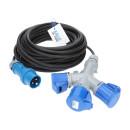 CEE Verlängerung KALLE Blue mit 3-fach-Kupplung 3G 2,5mm² 15 Meter