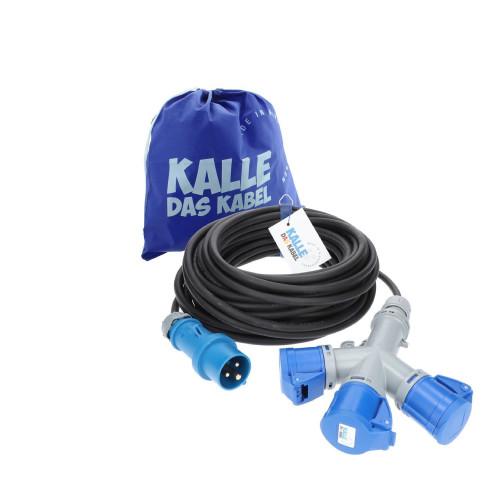 CEE Verlängerung KALLE Blue mit 3-fach-Kupplung 3G 2,5mm² 20 Meter