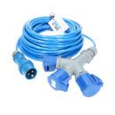 CEE Verlängerung KALLE Blue EXTREME mit 3-fach-Kupplung