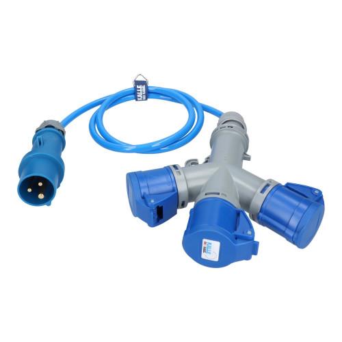 CEE Verlängerung KALLE Blue EXTREME 2,5mm² mit 3-fach-Kupplung 1,5 Meter