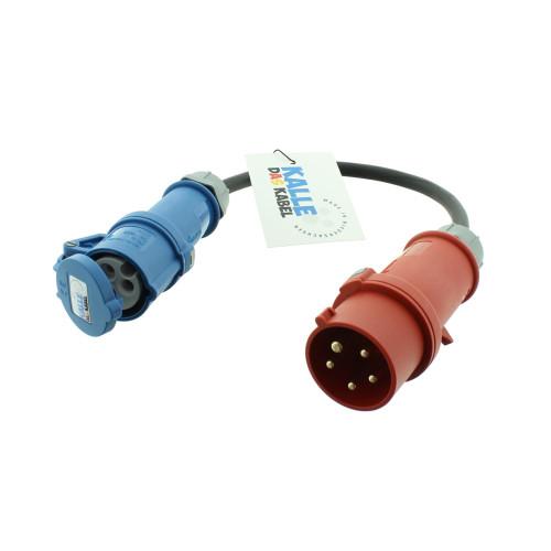 Kalle Adapterleitung CEE400V Stecker auf CEE230V Kupplung mit 0,5 Meter Leitung