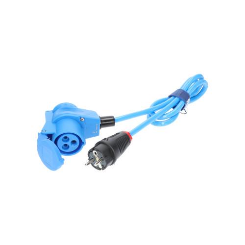 Adapter Professional Schuko Stecker 230V auf CEE Winkelkupplung 230V H07BQ-F 3G 2,5 blau