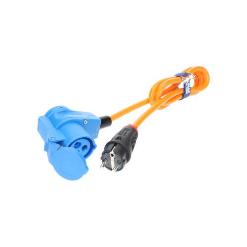Adapter Professional Schuko Stecker 230V auf CEE Winkelkupplung 230V H07BQ-F 3G 2,5 orange